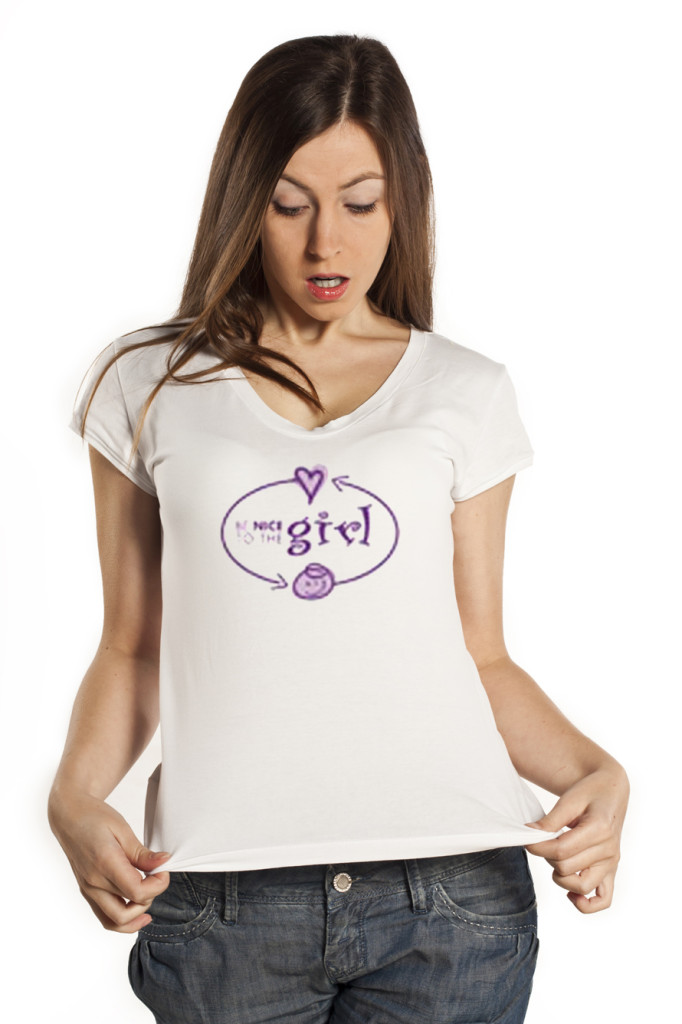 Young beautiful woman posing with blank white shirts. Ready for your design